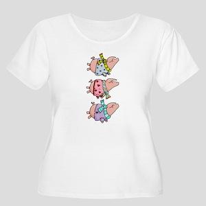 Piggy stack Women's Plus Size Scoop Neck T-Shirt