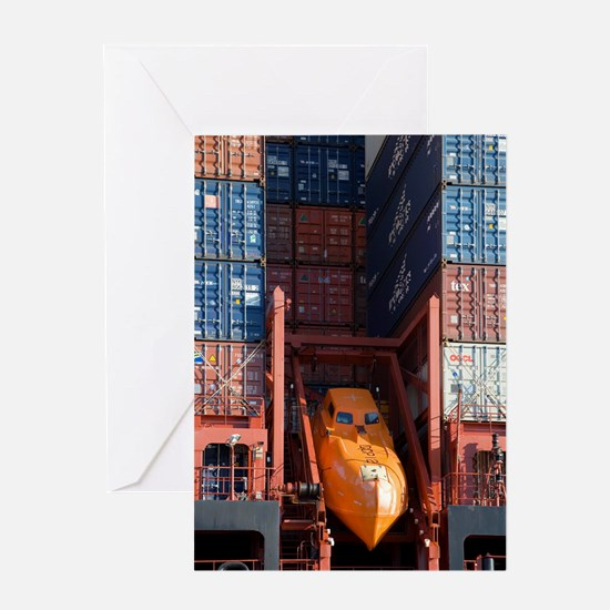 Container ship lifeboat Greeting Card