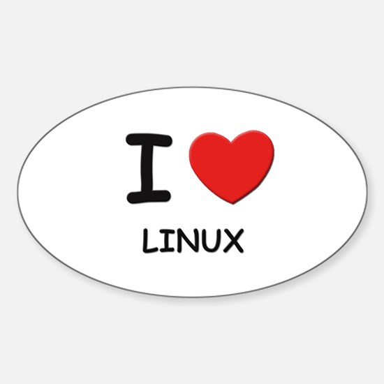 I love linux Oval Decal