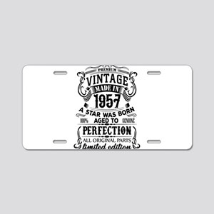 Vintage 1957 Aluminum License Plate