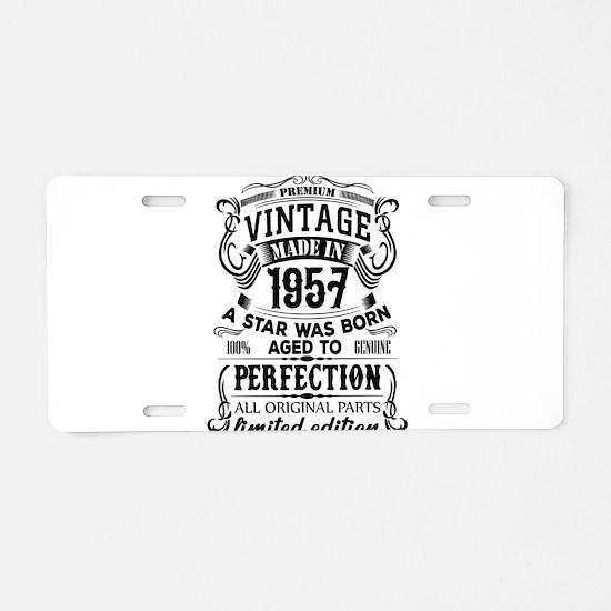 Vintage 1957 Aluminum License Plate