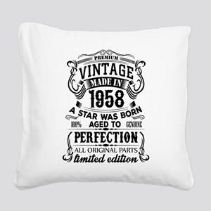 Vintage 1958 Square Canvas Pillow