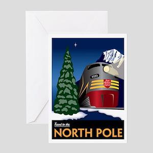 Vintage North Pole Train - Christmas Greeting Card
