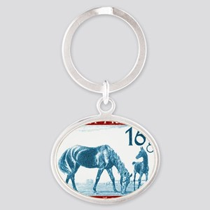 1946 Austria Racehorse And Foal Post Oval Keychain