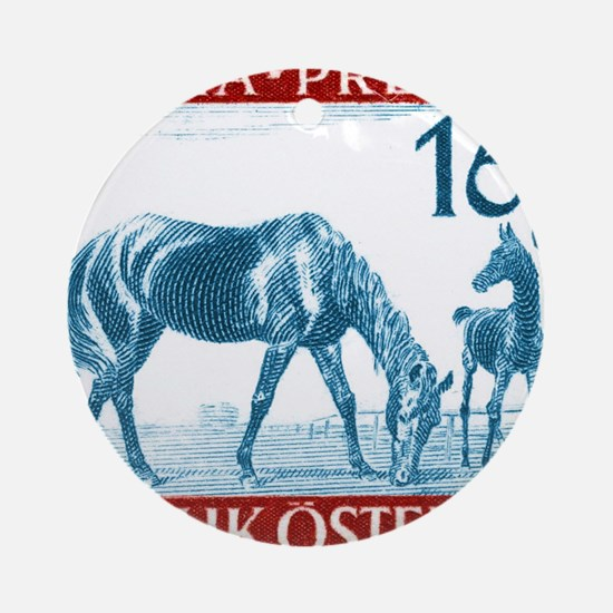 1946 Austria Racehorse And Foal Pos Round Ornament