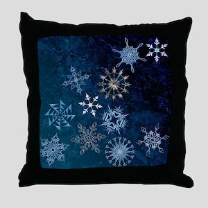 Harvest Moons Snowflakes Throw Pillow