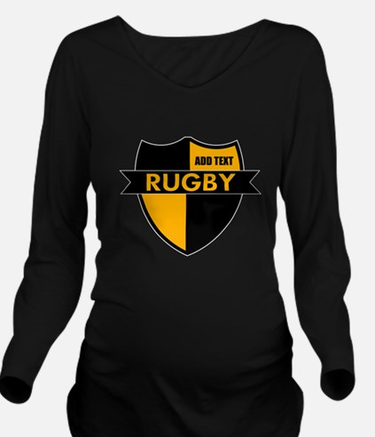 Rugby Shield Black Gold Long Sleeve Maternity T-Sh