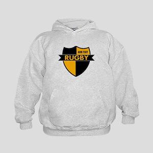 Rugby Shield Black Gold Kids Hoodie