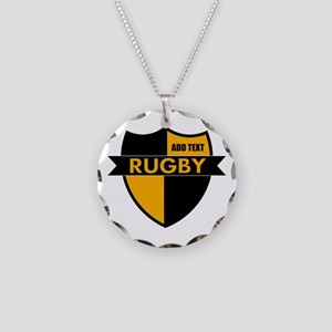 Rugby Shield Black Gold Necklace Circle Charm
