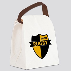 Rugby Shield Black Gold Canvas Lunch Bag
