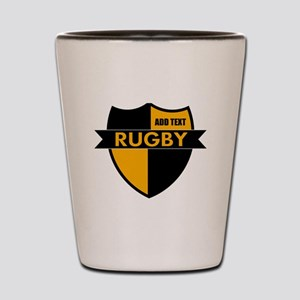 Rugby Shield Black Gold Shot Glass