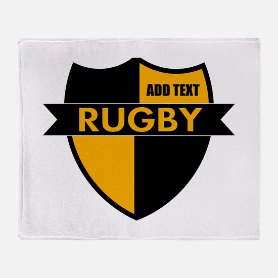 Rugby Shield Black Gold Throw Blanket
