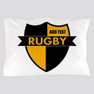 Rugby Shield Black Gold Pillow Case