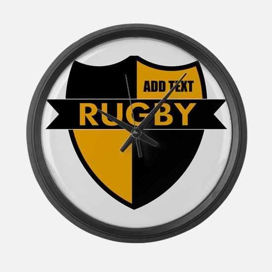 Rugby Shield Black Gold Large Wall Clock