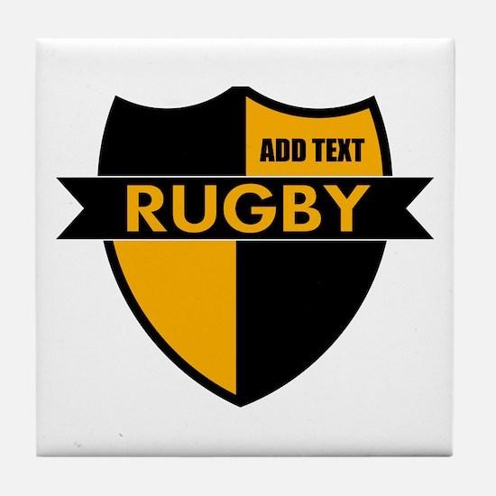 Rugby Shield Black Gold Tile Coaster