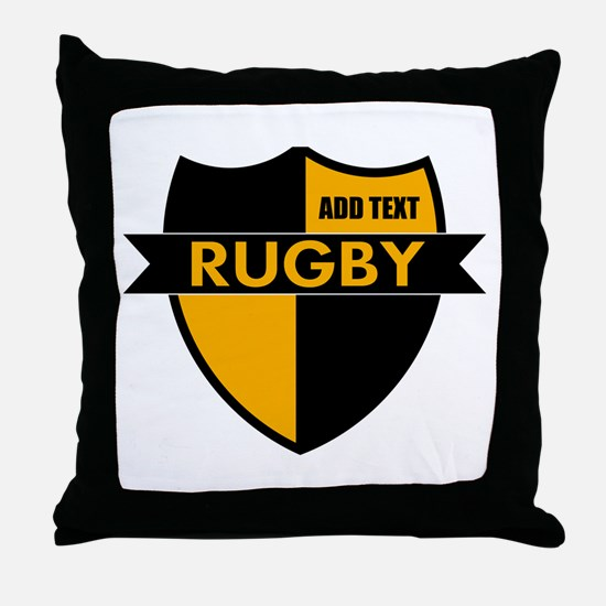 Rugby Shield Black Gold Throw Pillow