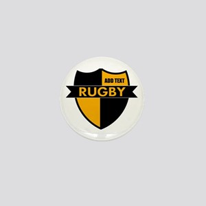 Rugby Shield Black Gold Mini Button