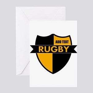 Rugby Shield Black Gold Greeting Card