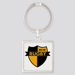 Rugby Shield Black Gold Square Keychain