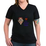 Boy Inner Geek Women's V-Neck Dark T-Shirt