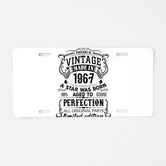 Vintage 1967 Aluminum License Plate