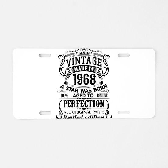Vintage 1968 Aluminum License Plate