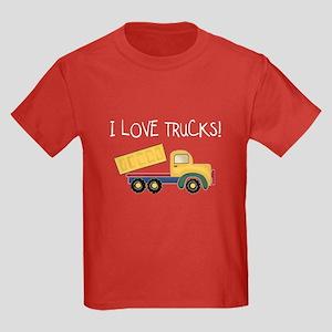I Love Trucks Kids Dark T-Shirt