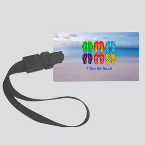 I Love the Beach - Colorful Flip Large Luggage Tag