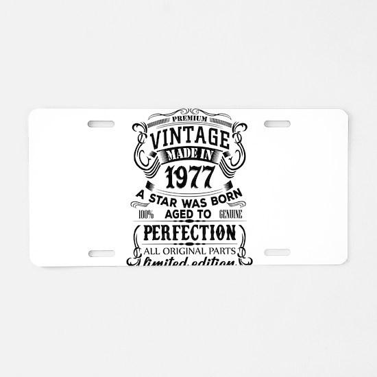 Vintage 1977 Aluminum License Plate