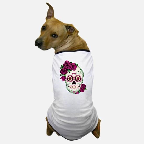 Cute Sugar skull roses Dog T-Shirt