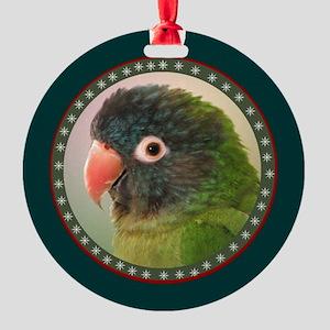 Blue Crown Conure Round Ornament