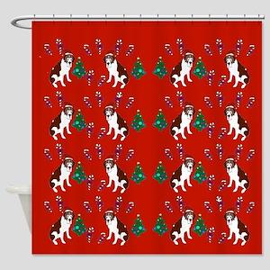 Christmas Saint Bernard Shower Curtain