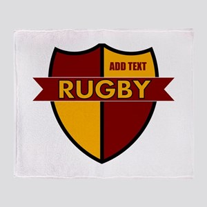 Rugby Shield Maroon Gold Throw Blanket