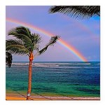Hawaiian double rainbow Square Car Magnet 3