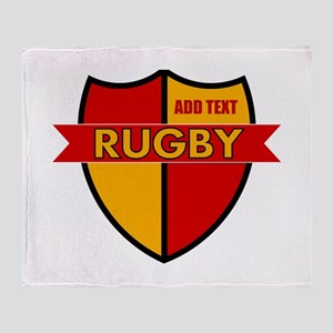 Rugby Shield Red Gold Throw Blanket
