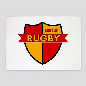 Rugby Shield Red Gold 5'x7'Area Rug