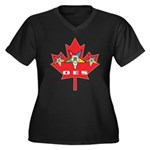OES Canadian Maple Leaf Women's Plus Size V-Neck D