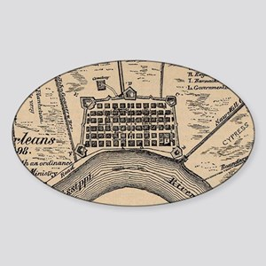 Vintage Map of New Orleans Louisiana (1798 Sticker