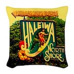 Haliewa north shore beach signs Woven Throw Pillow