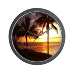 Hawaii sunset beaches Wall Clock