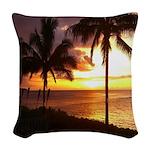 Hawaii sunset beaches Woven Throw Pillow