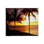 Hawaii sunset beaches Throw Blanket