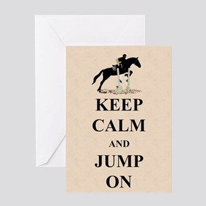 Keep Calm and Jump On Horse Greeting Card