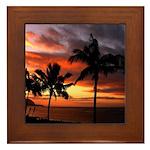 hawaiian sunset by the sea Framed Tile