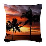 hawaiian sunset by the sea Woven Throw Pillow