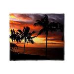 hawaiian sunset by the sea Throw Blanket