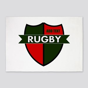 Rugby Shield Green Red 5'x7'Area Rug