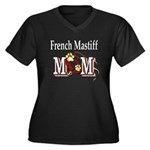 French Mastiff Women's Plus Size V-Neck Dark T-Shi