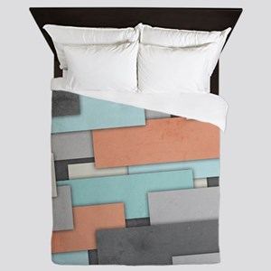 Textured Geometric Abstract Queen Duvet