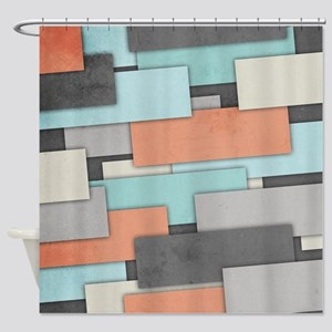 Textured Geometric Abstract Shower Curtain